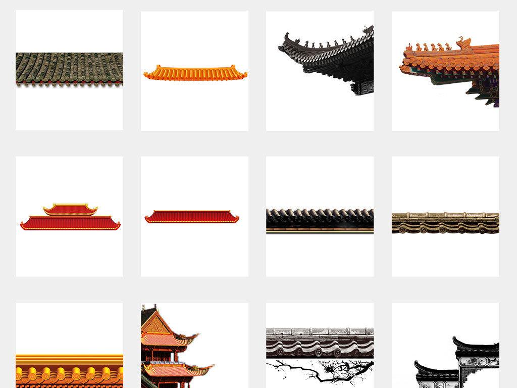 中国风手绘建筑卡通屋顶屋檐海报png素材