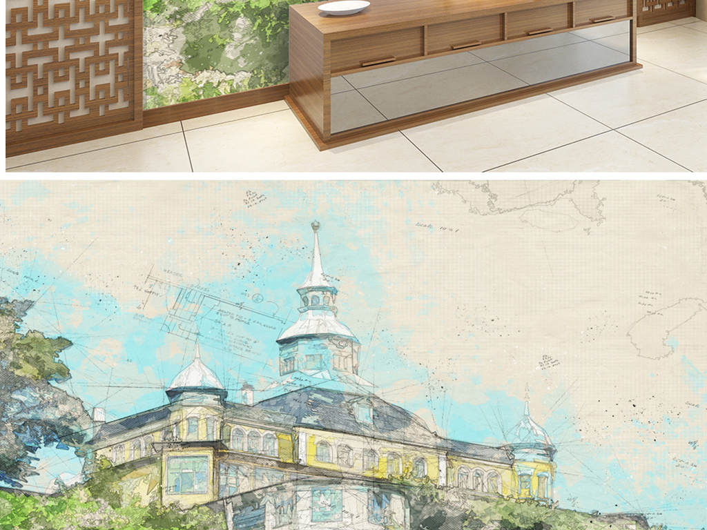 欧式手绘铅笔别墅