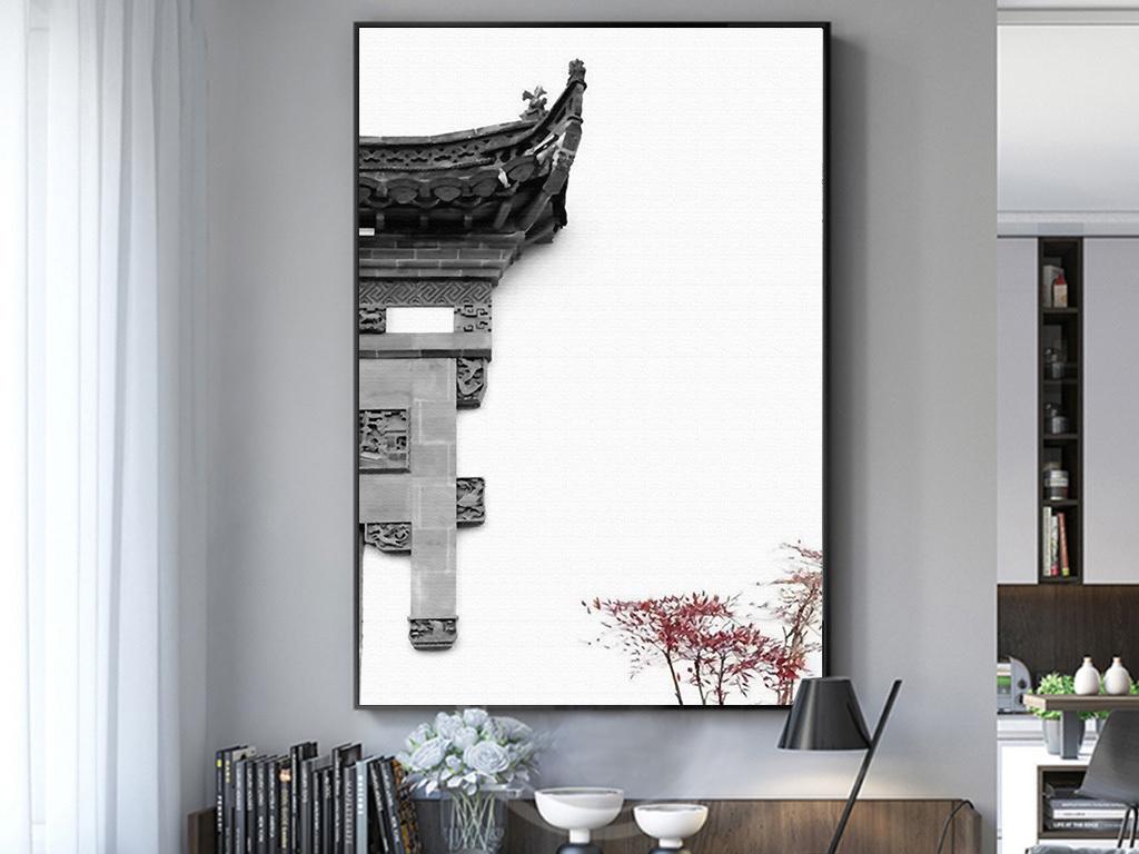 新中式徽派建筑中国水墨玄关装饰画