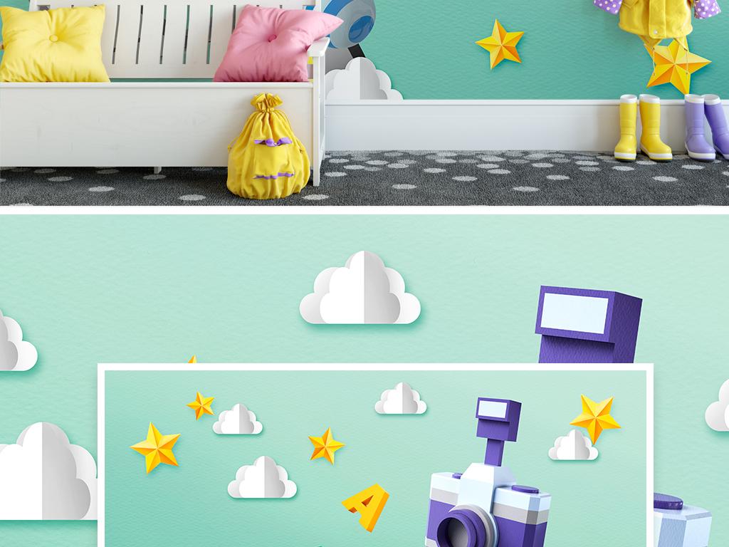 北欧现代简约卡通相机立体剪纸儿童房背景墙图片设计素材 高清模板下