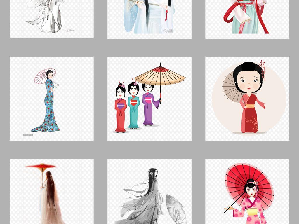 免抠元素 生活工作 居家物品 > 中国风古典手绘唯美撑伞美女png素材