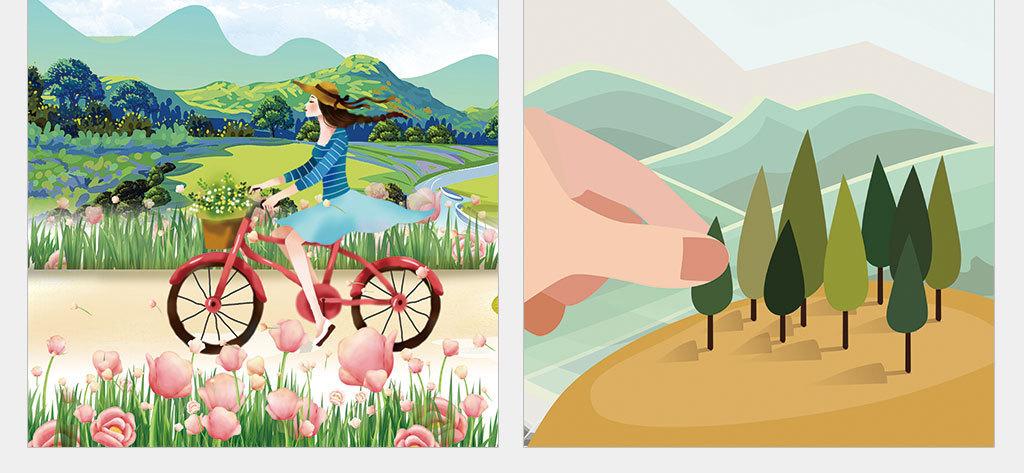 psd/独立png/绿色卡通手绘春季海运动会报背景设计