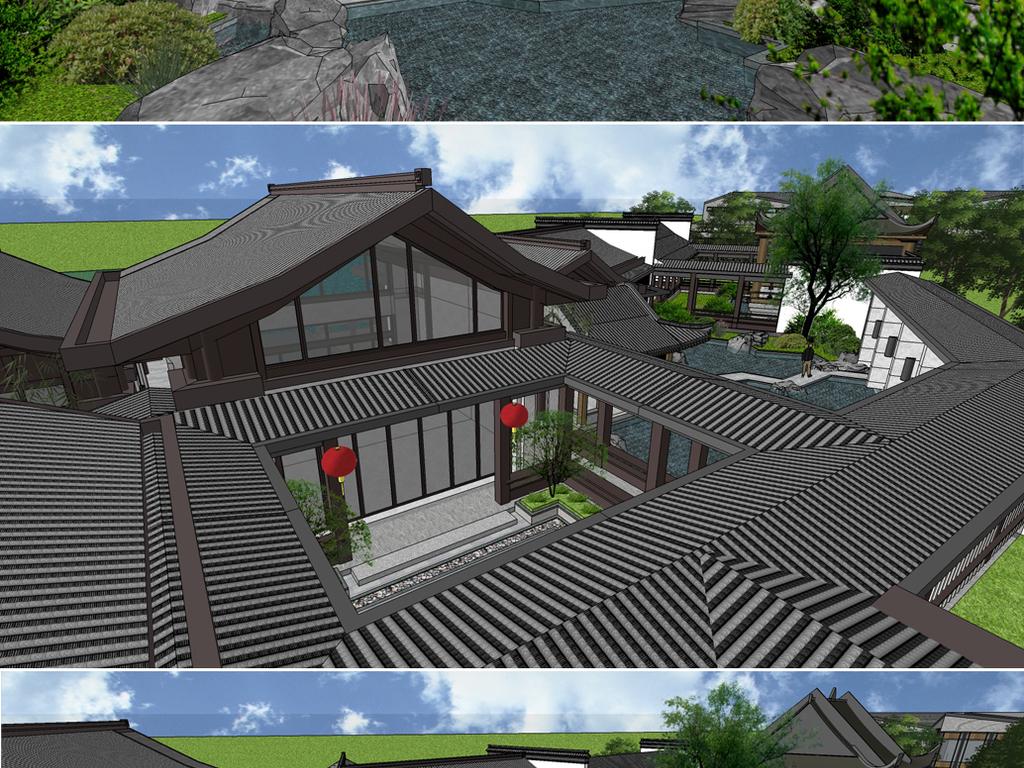 模型庭院别墅园林景观院落农家乐私家花园改造大院小院自建房中式古建