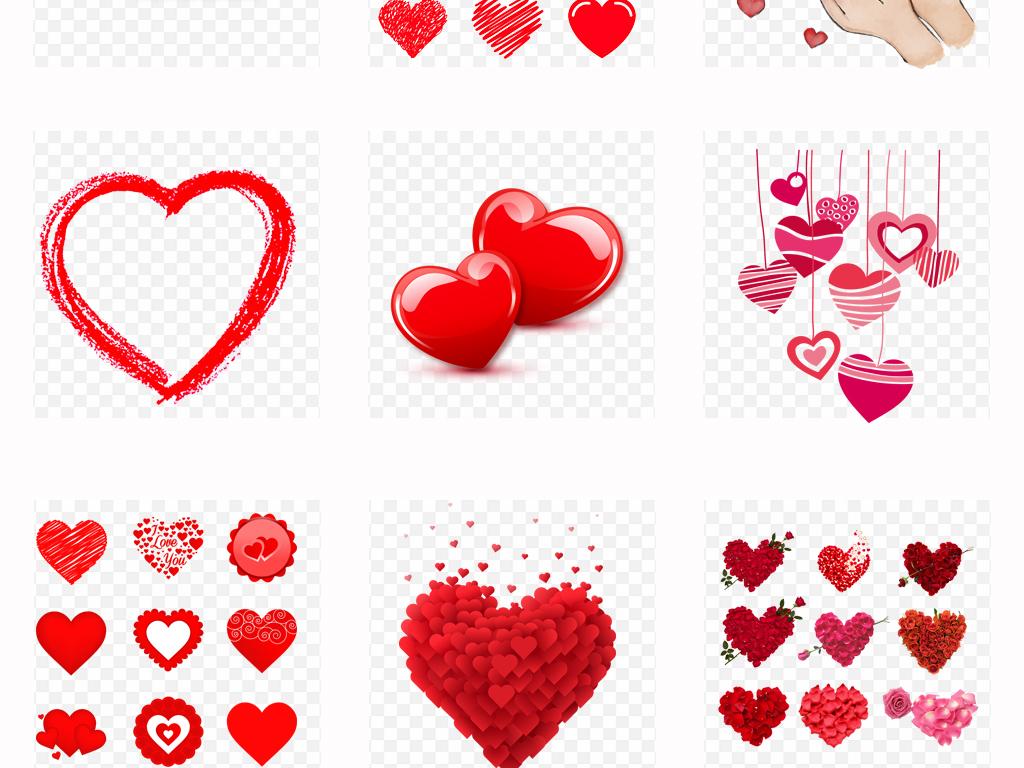浪漫爱心心形可爱手绘爱心玫瑰花背景设计png素材