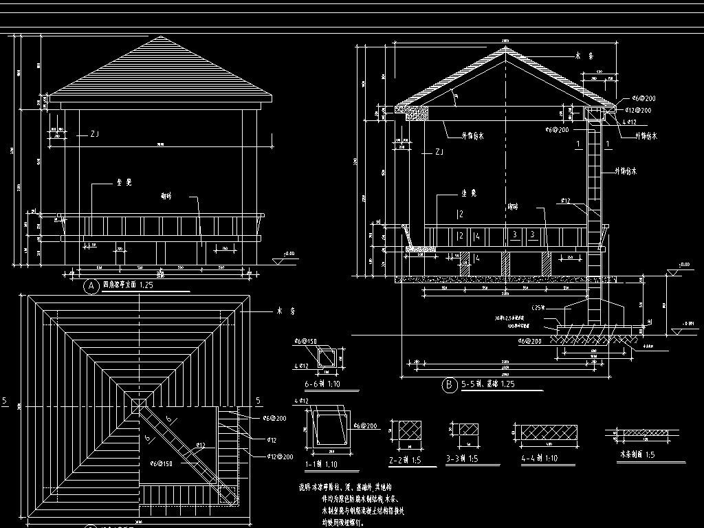 亭cad施工设计图仿古建筑凉亭园林景观六角亭古建四方亭古建亭设计图