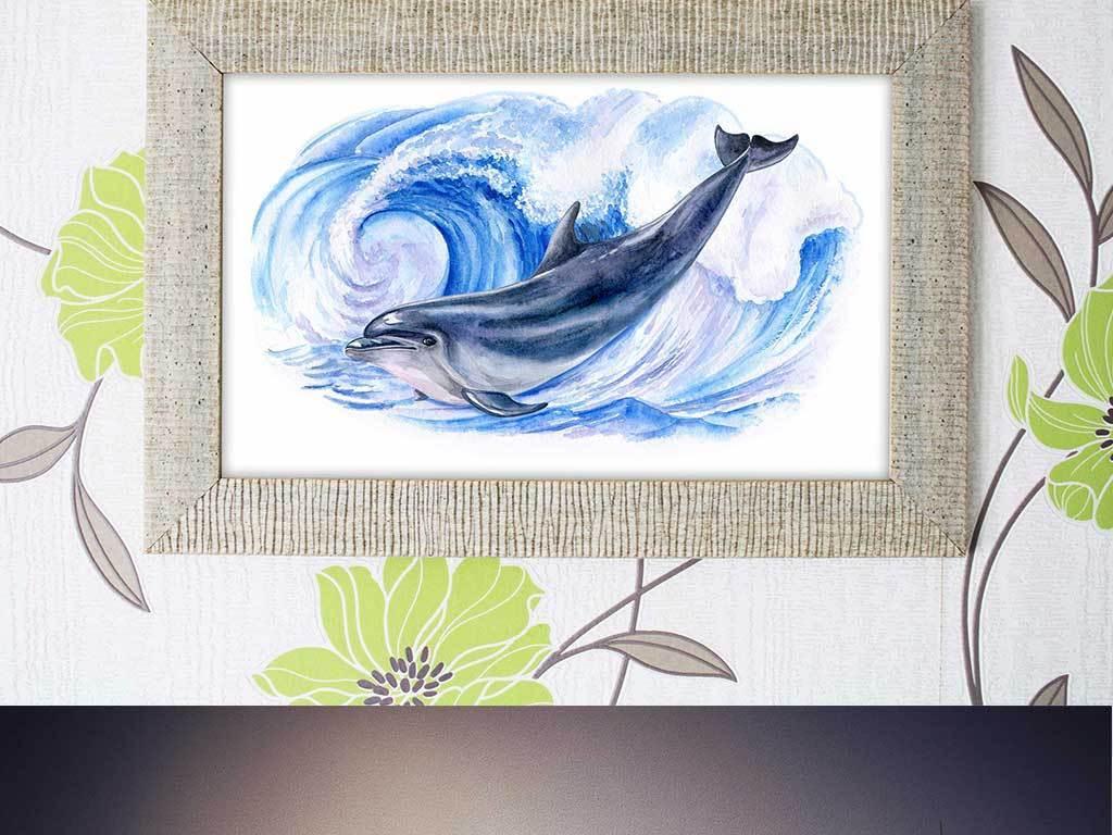 手绘水彩海洋海豚图案背景素材
