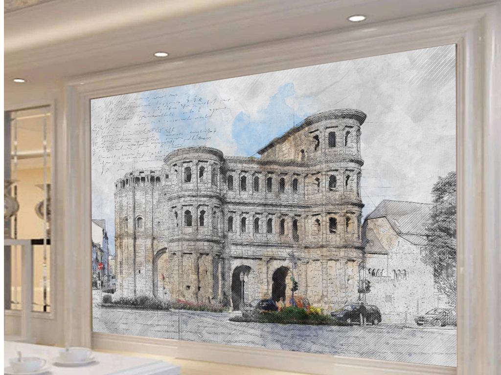 新欧式手绘素描城堡图纸图片设计素材 高清模板下载 22.85MB 电视背