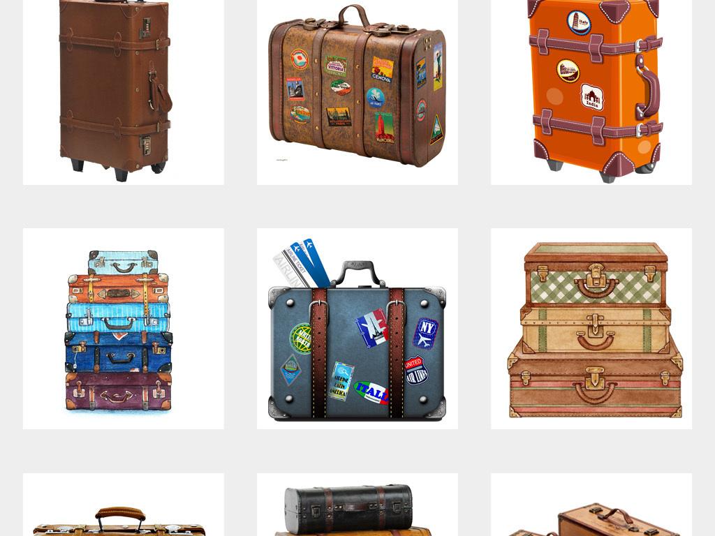 50款卡通手绘复古旅行箱行李箱度假旅行png免扣素材