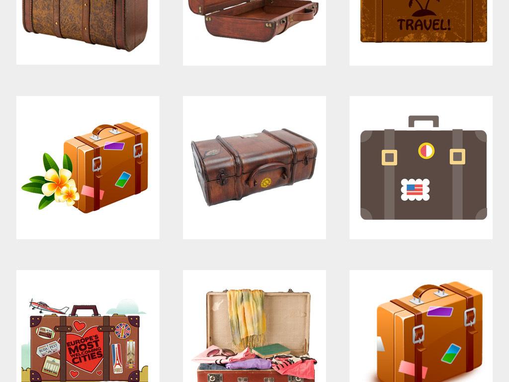 50款卡通手绘复古旅行箱行李箱度假旅行png免扣素材图片