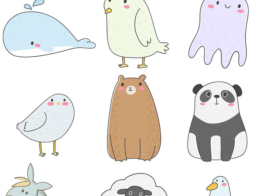 小清新简笔画小动物农场动物png免扣素材图片_模板(23