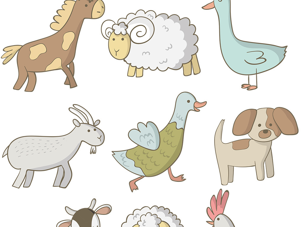 小清新动物简笔画农场小动物笔画