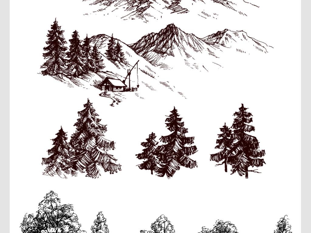 素描手绘山峰景色树木矢量素材