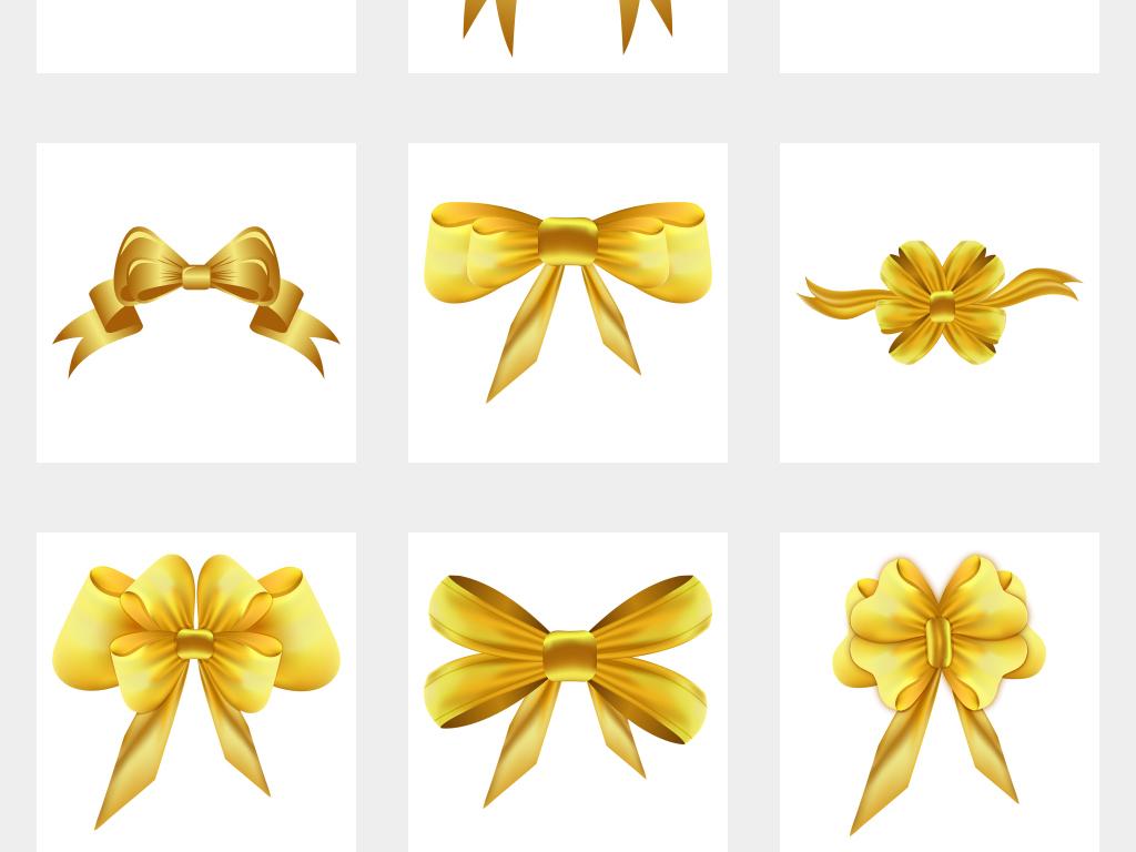 金色蝴蝶结丝带免抠png素材