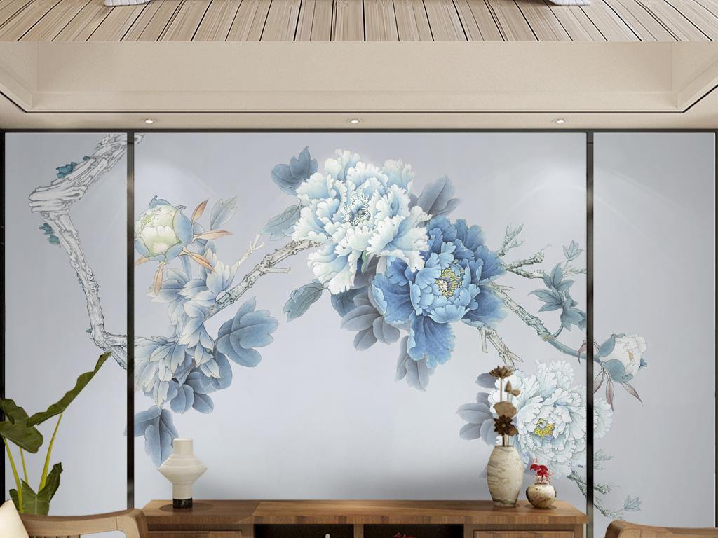 中式国画牡丹花开富贵背景墙工笔牡丹装饰画图片