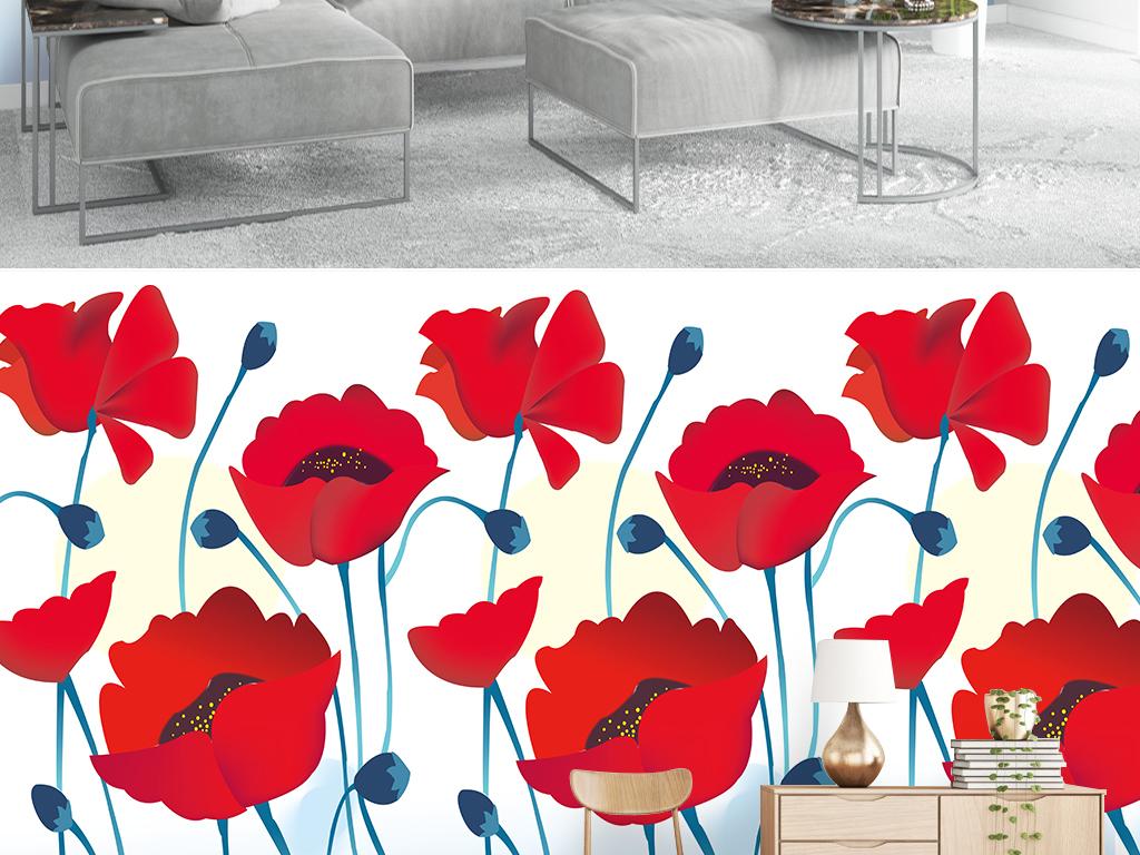 北欧简约小清新手绘红色花朵水彩风格背景墙