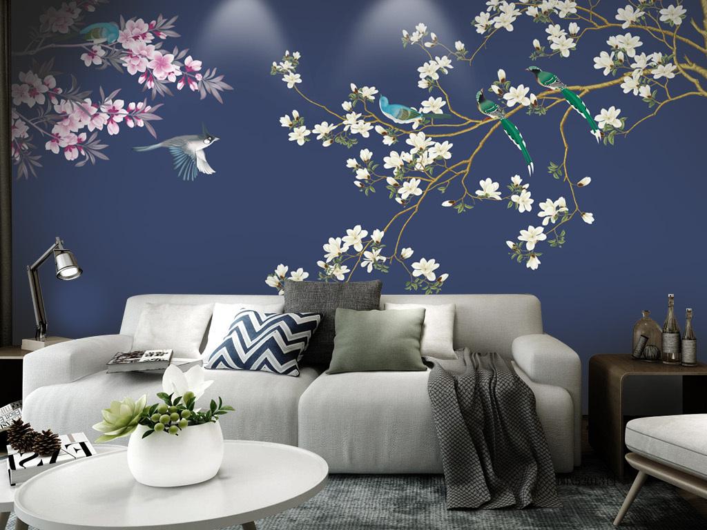 新中式花鸟手绘壁画玄关屏风电视背景墙墙纸