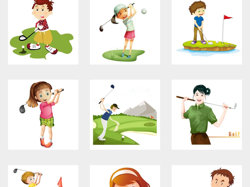 卡通儿童运动打高尔夫球设计png免扣素材
