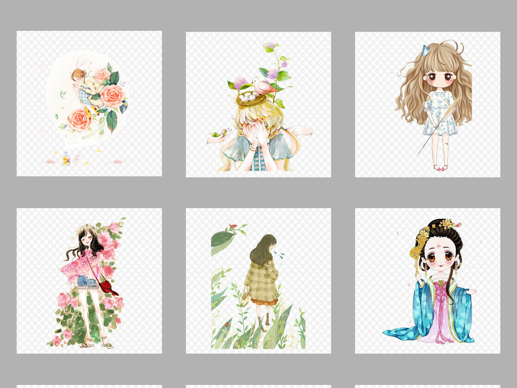 50款唯美手绘美女人物插画png海报素材图片_模板下载