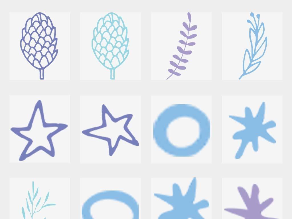 卡通幼儿园简笔画小草叶子星星png免扣素材