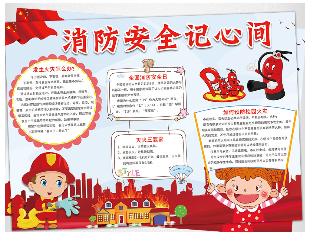 二年级消防安全教育囹�._消防安全小报防火防灾安全教育手抄小报