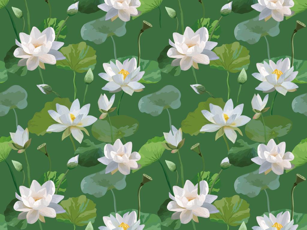 手绘水彩荷花植物无缝印花