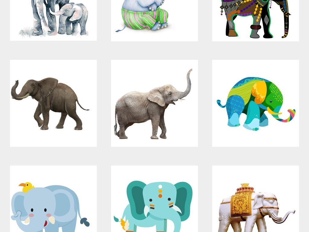 表演手绘大象卡通动物泰国泰国旅游大象动物素材大象动物动物素材实物