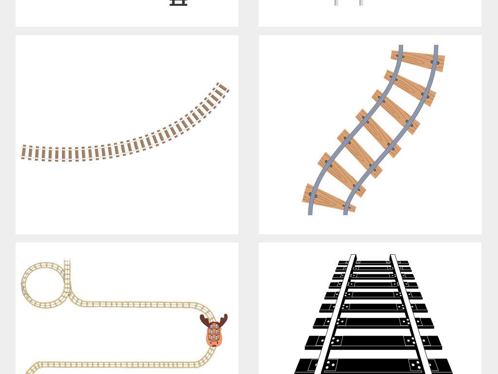 卡通手绘轨道路轨铁路铁轨插画png素材
