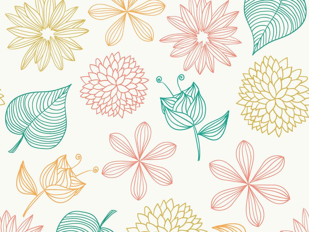 清新条纹植物无缝数码印花设计图片_高清 矢量图素材