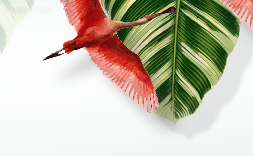 北欧现代手绘清新热带植物火烈鸟三联装饰画