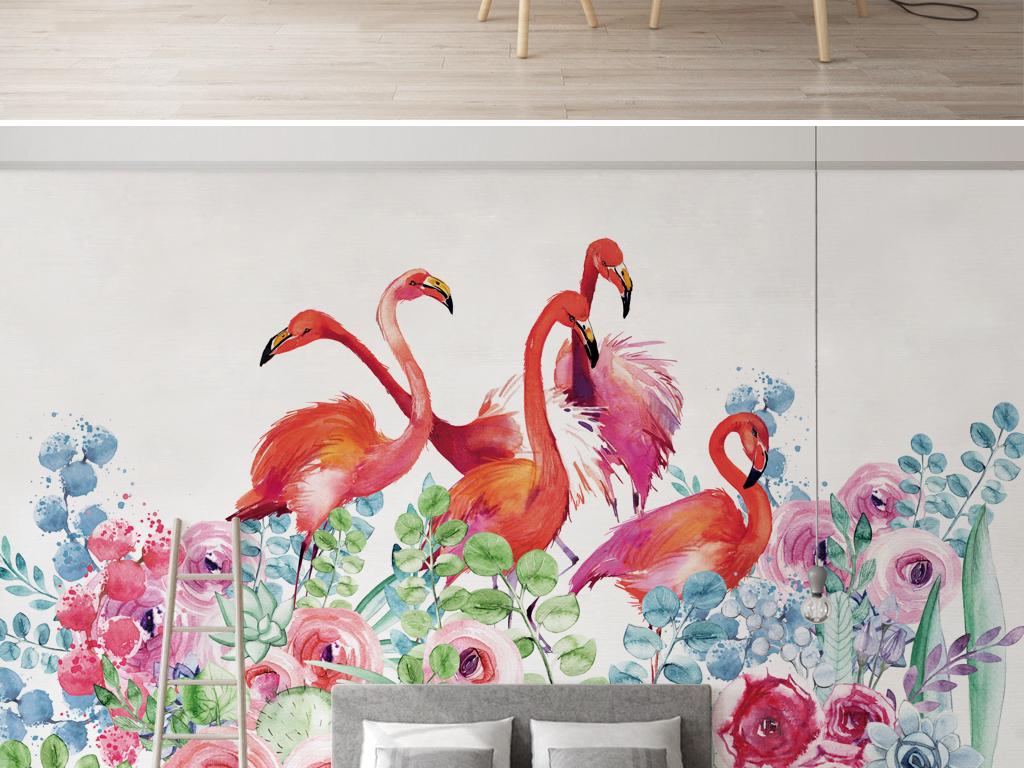 北欧水彩手绘花卉火烈鸟背景墙壁纸壁画