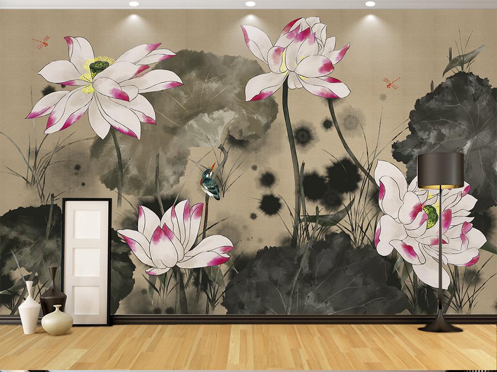 手绘工笔荷花古典新中式背景墙装饰画