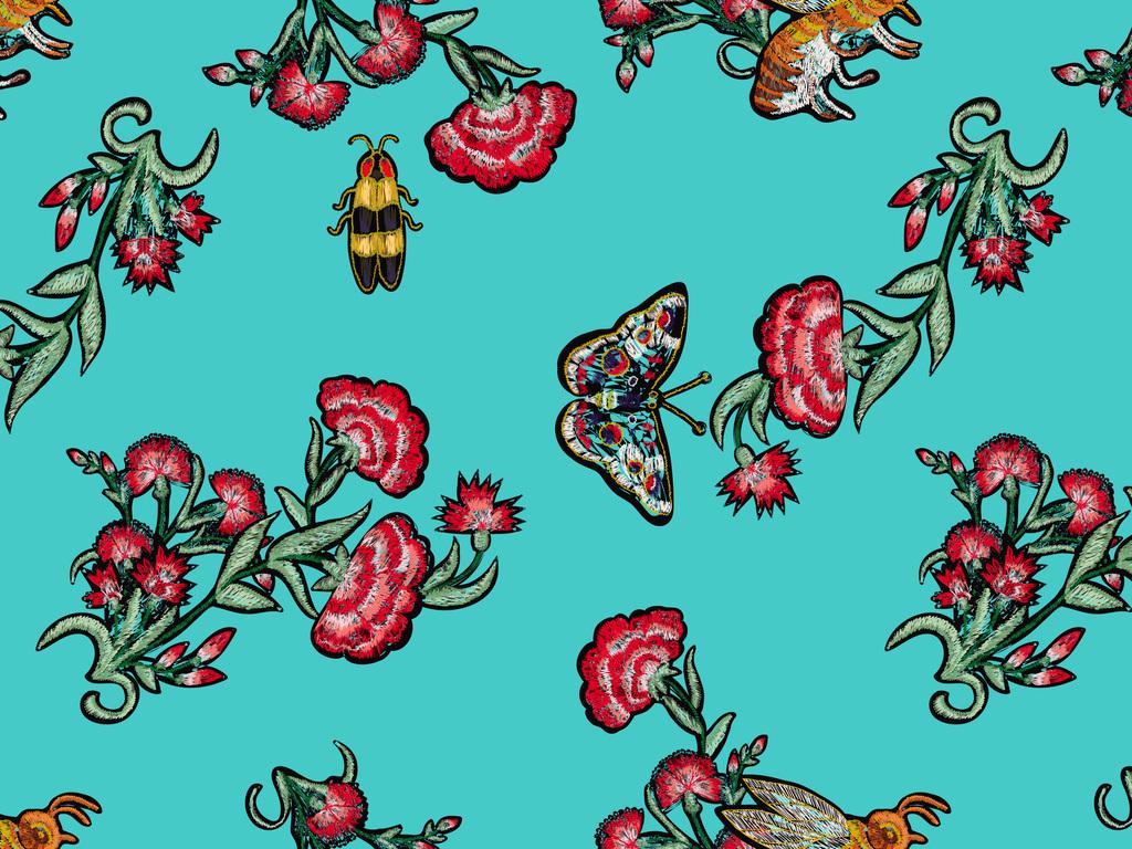 手绘矢量线描编织植物小花蝴蝶无缝印花图案