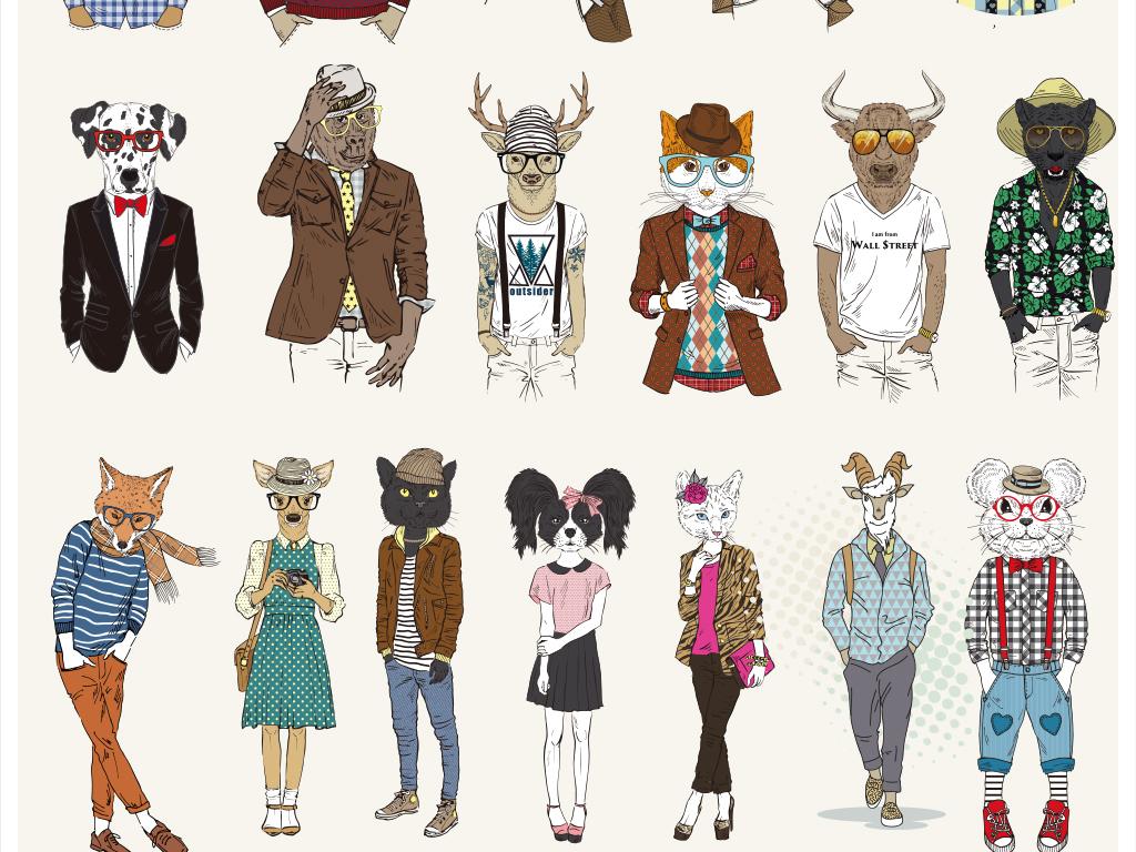 免抠元素 人物形象 动漫人物 > 20款创意手绘人身动物头插画设计