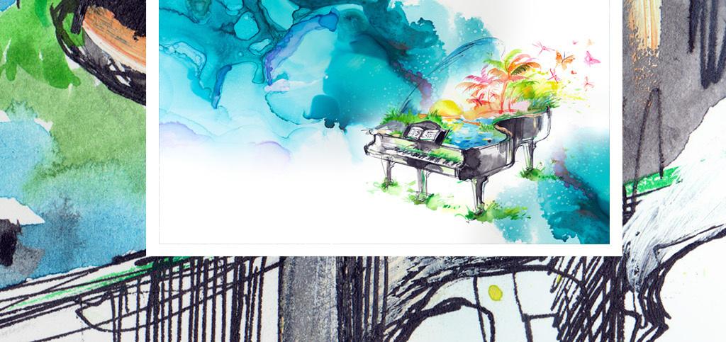 创意蓝色幻想钢琴水彩手绘背景墙