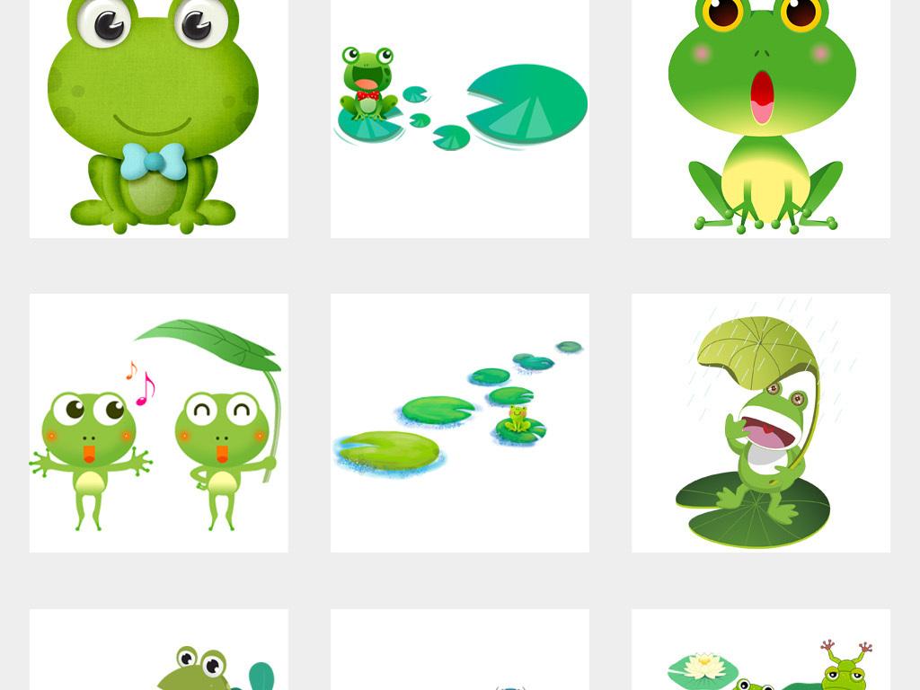 卡通可爱青蛙蝌蚪动物荷叶荷花png免扣素材