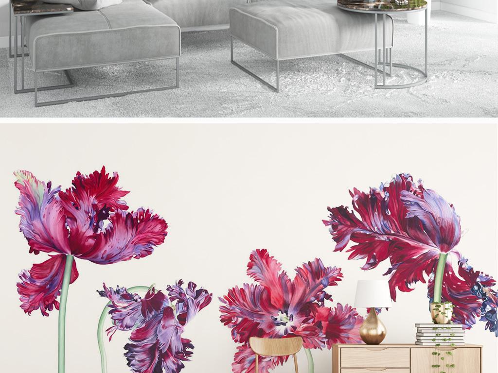 北欧小清新手绘郁金香花朵电视背景墙