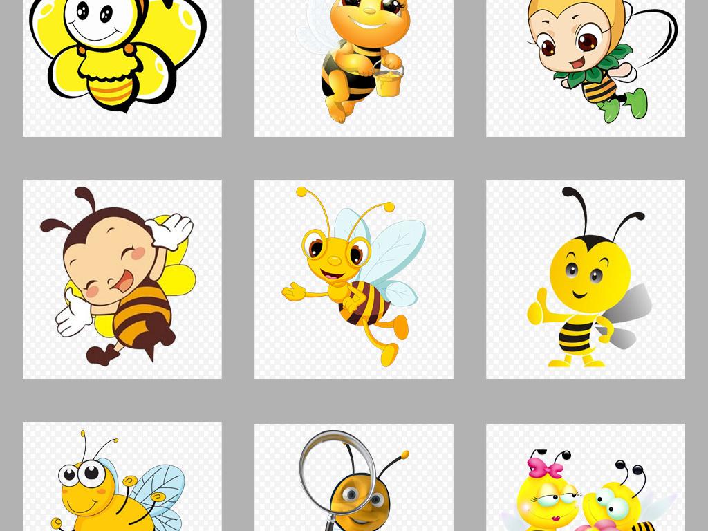 50款卡通手绘可爱小蜜蜂采蜜海报png免扣素材