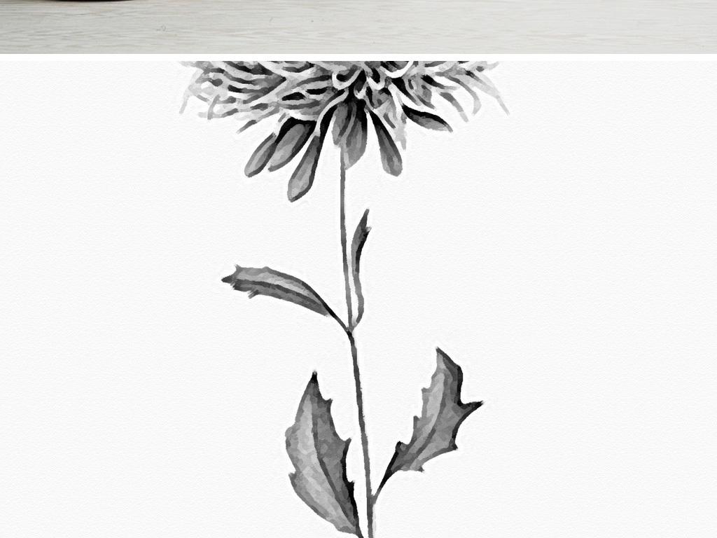 简约黑白装饰画植物花卉装饰画无框画素材图片