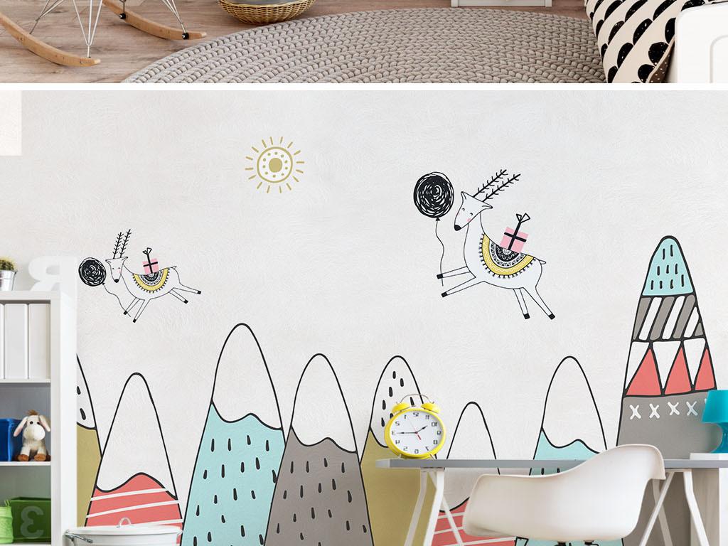 手绘卡通彩色山峰麋鹿儿童房背景墙图片设计素材_高清