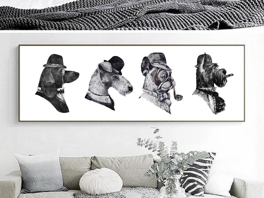 黑白创意手绘狗狗艺术无框画装饰画