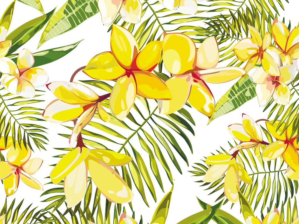 矢量图鸡蛋花热带植物叶子无缝印花