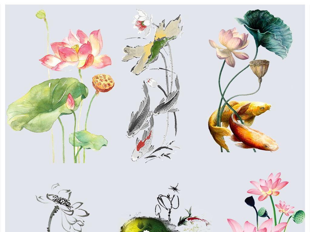 中国风廉洁古韵手绘水墨荷花荷叶莲花png素材