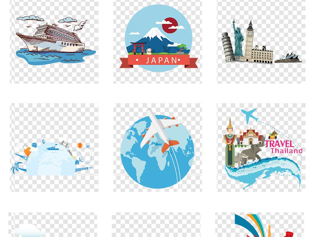 手绘度假旅游热点行李箱环球旅行地球飞机春游素材美国美国旅游飞机
