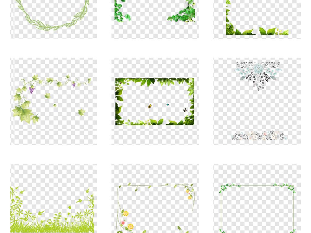小清新边框圆环花花环圆形植物花圈春夏植物边框夏天边框树叶春季叶子