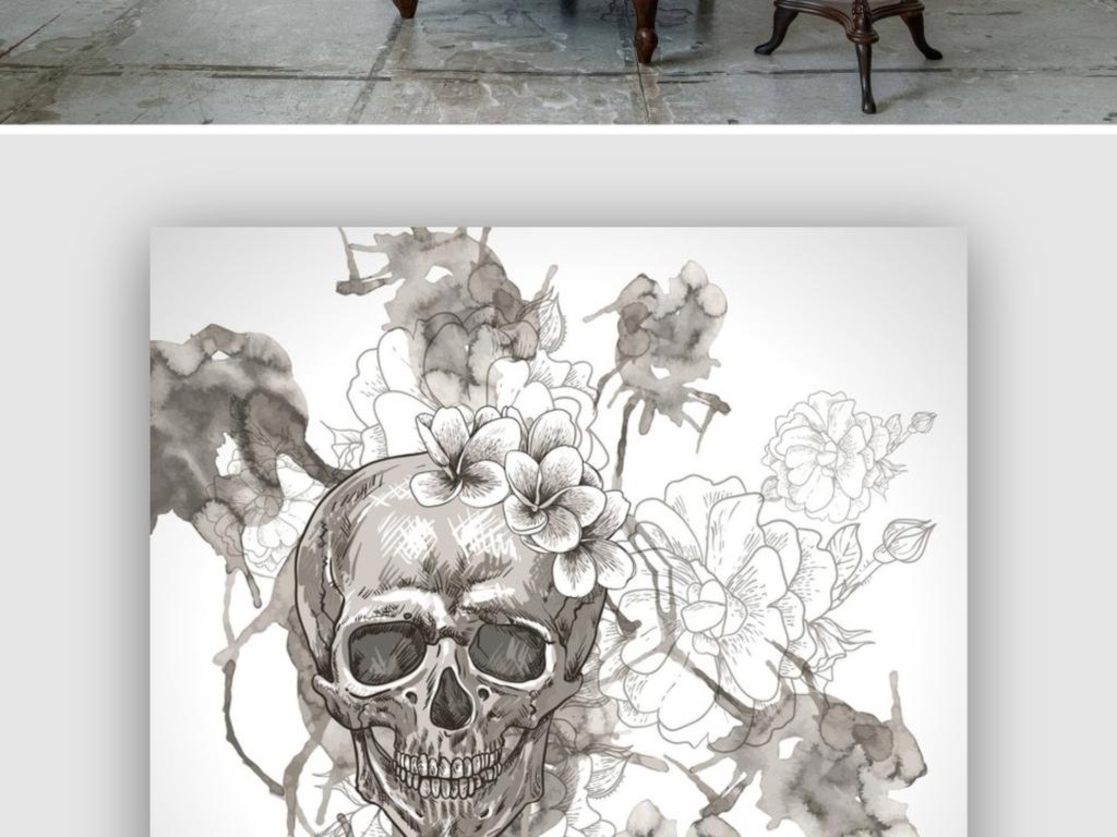 骷髅狗背景墙壁画万圣节卡勒特花卉恐怖背景