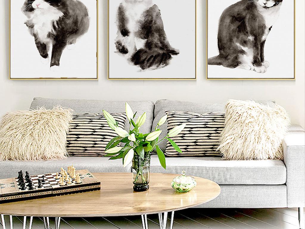 现代简约北欧风格小清新手绘动物小猫装饰画