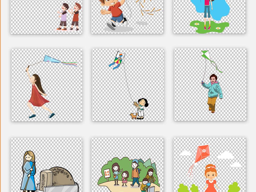 风筝小孩踏青素材卡通素材放风筝清明节