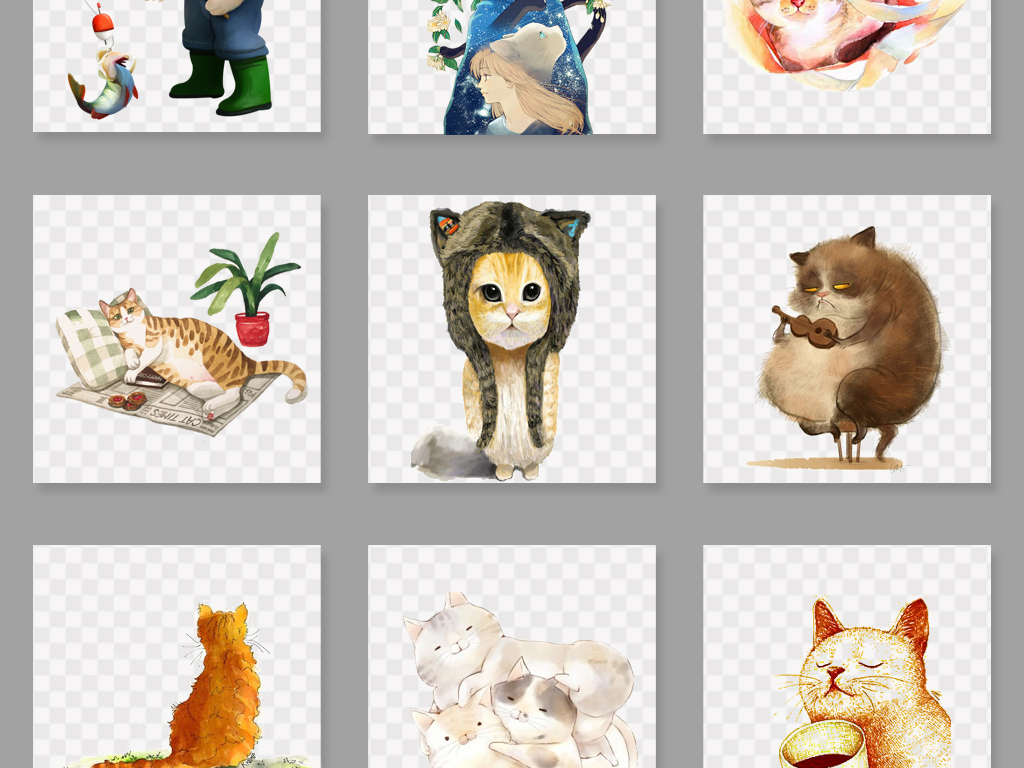 卡通手绘可爱猫咪png素材