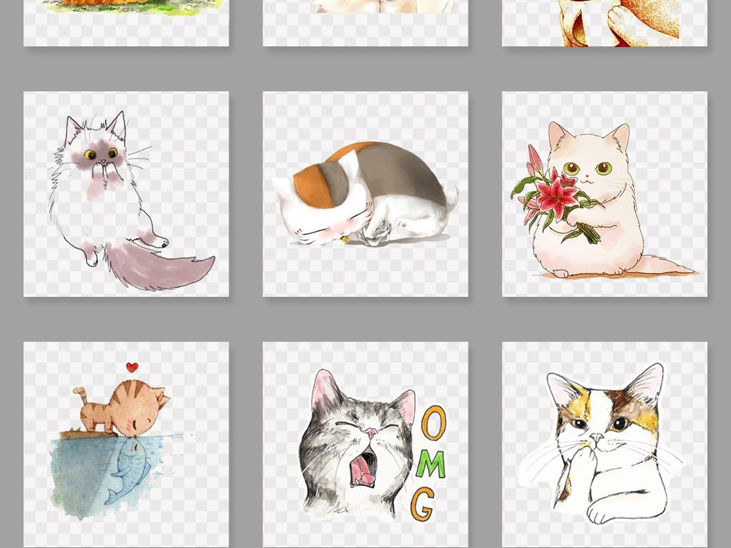 卡通手绘可爱猫咪png素材图片_模板下载(49.34mb)