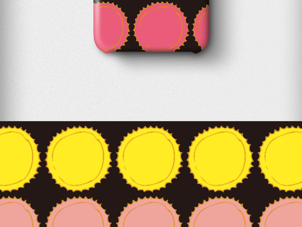 产品图案设计 数码/配件图案 其它图案 > 手绘插画几何圆形糖果色手机
